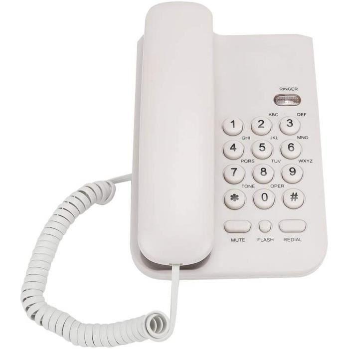 Tangxi Téléphone Fixe, téléphone Filaire de Bureau/Domicile avec Ligne téléphonique Britannique, téléphone Portable Durable ABS(Blan