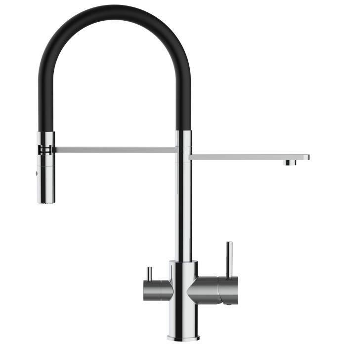 extension robinet argent Zhouba Douchette flexible 360/degr/és en acier inoxydable cuisine.