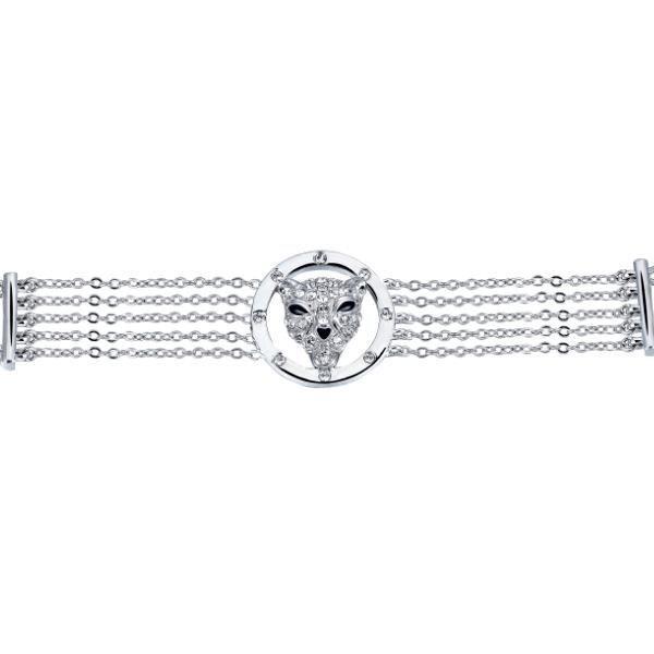 Bracelet Panthère en Cristal de Swarovski Elements blanc et Plaqué Rhodium