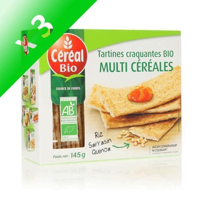 [LOT DE 3] CEREAL BIO Tartines croquantes multicéréales : riz, sarrasin et quinoa Bio - 145 g