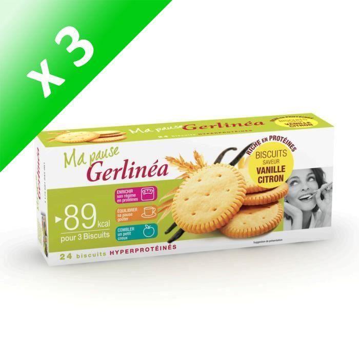 [LOT DE 3] GERLINEA Biscuits saveur vanille et citron - 156 g