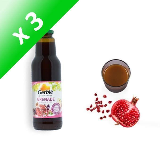 GERBLE Jus de grenade, raisin, pomme, purées de pêche et goyave - 75 cl (Lot de 3)