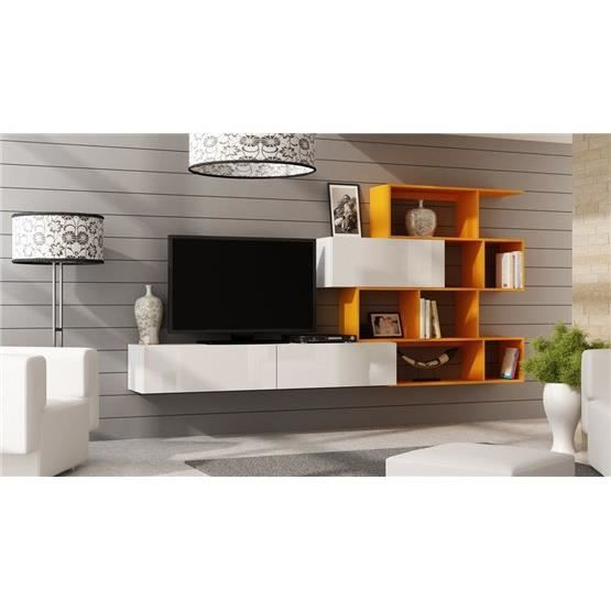 Ensemble meuble tv design Mariana blanc et orange