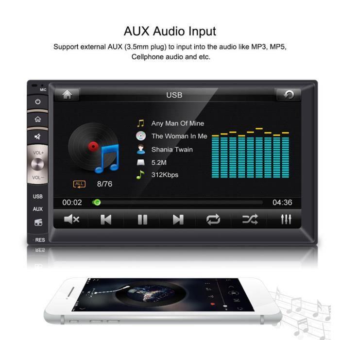 Cuque Lecteur d'autoradio 7 pouces universel 2 Din Bluetooth USB / TF FM entrée auxiliaire autoradio lecteur MP5 avec caméra de