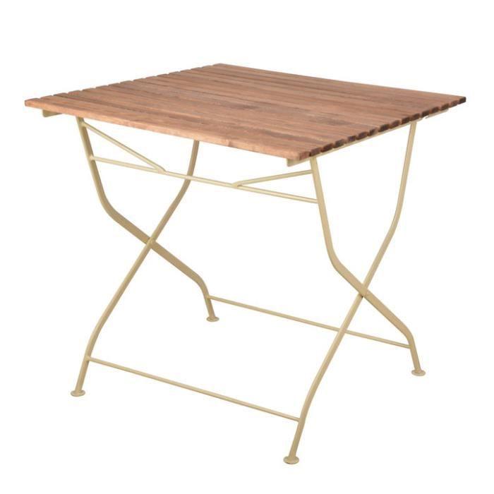 Table pliable bois/métal 78 x 78 cm - crème Crème,Bois