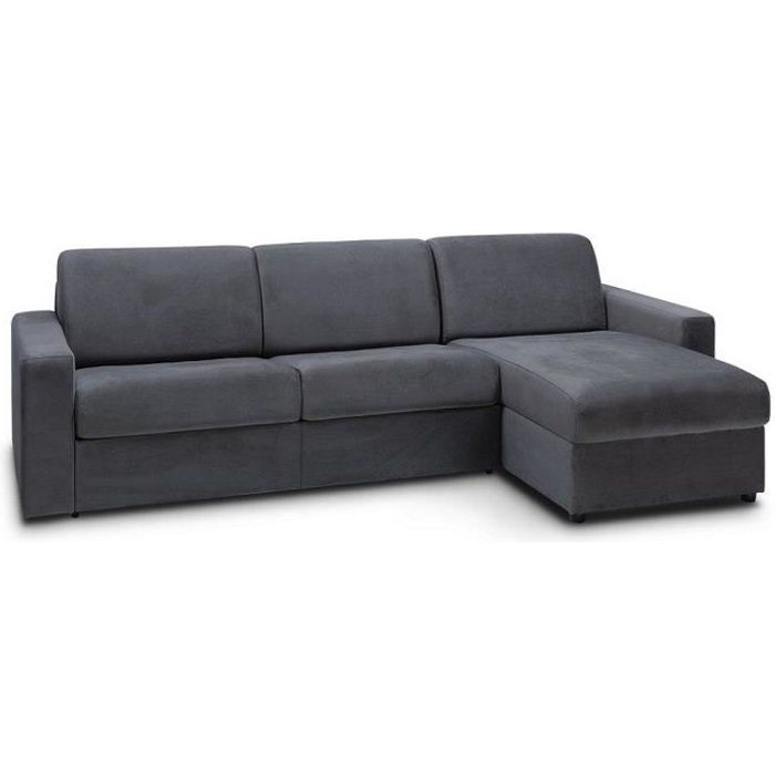 Canapé d'angle convertible NIGHT EDITION VELOURS rapido couchage 140 cm gris anthracite gris tissu Inside75