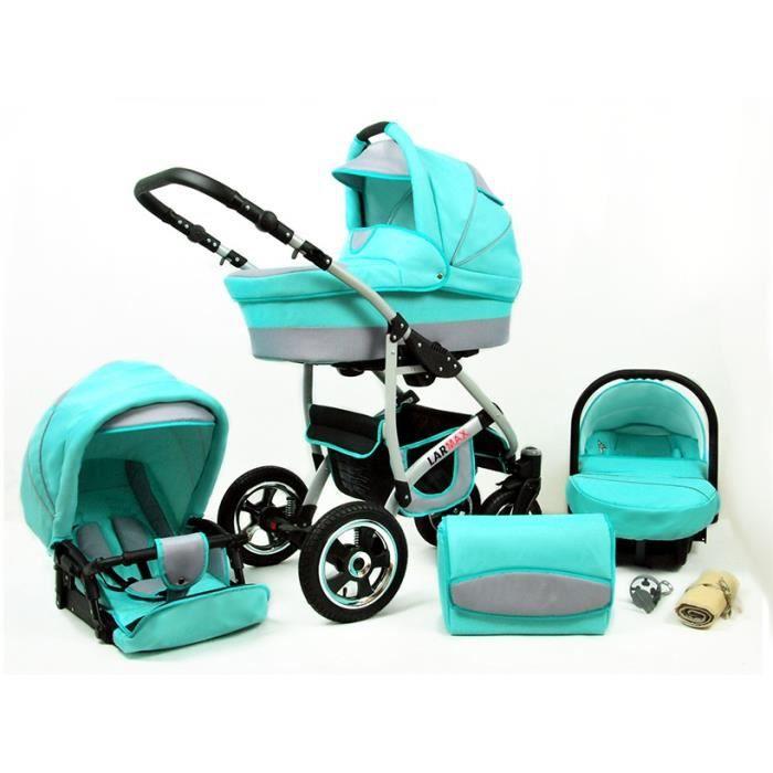 Lux4kids Poussette combinée Landau roues pivotantes Poussette Canne Nacelle Accessoires Larmax Mint 2en1 sans siège bébé