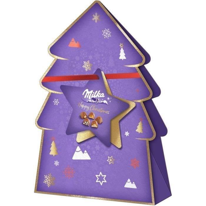 MILKA - Assortiment de Chocolats de Noël - Délicieuses pralines Moments - Boîte Sapin de 152 g