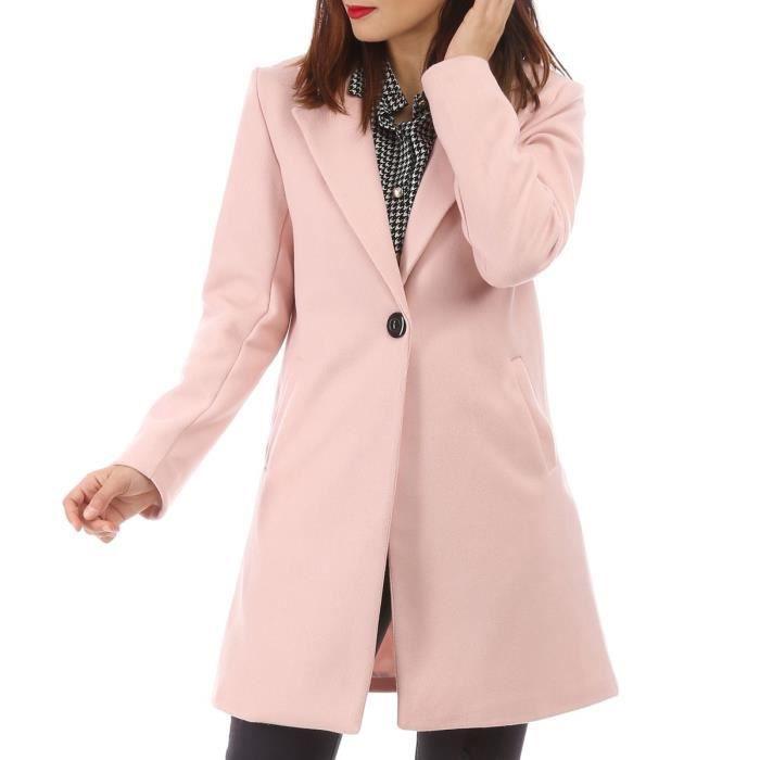 Manteau classique rose à bouton
