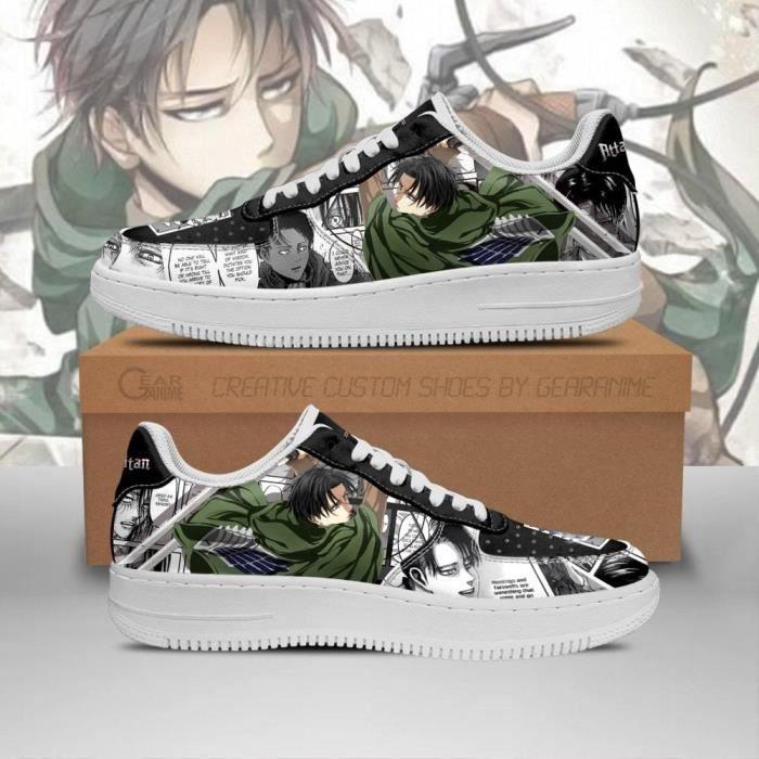 Baskets Anime AOT Levi Attack On Titan Mixed Manga Chaussures de course pour Homme Femme