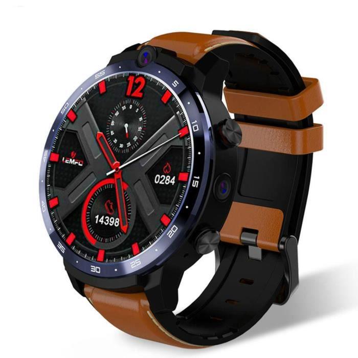 LEMFO LEM12 4G montre intelligente visage ID double caméra Android 7.1 1800mah batterie 1.6 pouces plein écran Smartwatch 3GB 32GB G