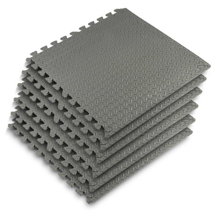 Tapis de Sol de Gym Sport avec 48 Dalles de Protection en Mousse 60 cm x 60 cm Gris