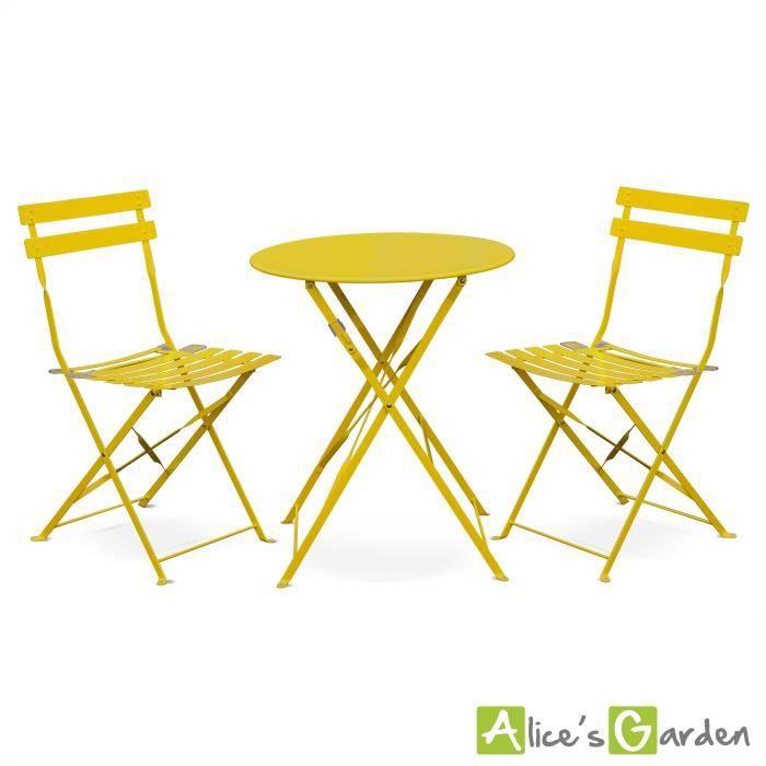 Salon De Jardin Bistrot 2 Places Emilia Jaune Achat Vente Ensemble Table Et Chaise De Jardin Salon De Jardin Emilia Cdiscount