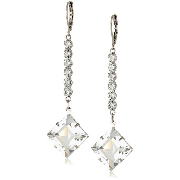 1928 Jewelry Signature Crystal Genuine Swarovski Diamond Shape Linear Drop Earrings VKO0F