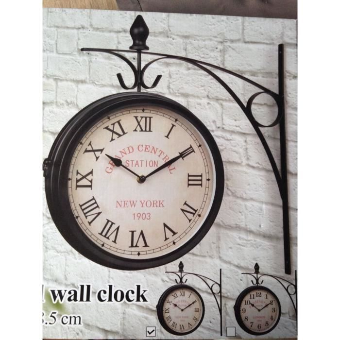 grande horloge murale deco style ancien retro gare pendule decoration maison achat vente. Black Bedroom Furniture Sets. Home Design Ideas