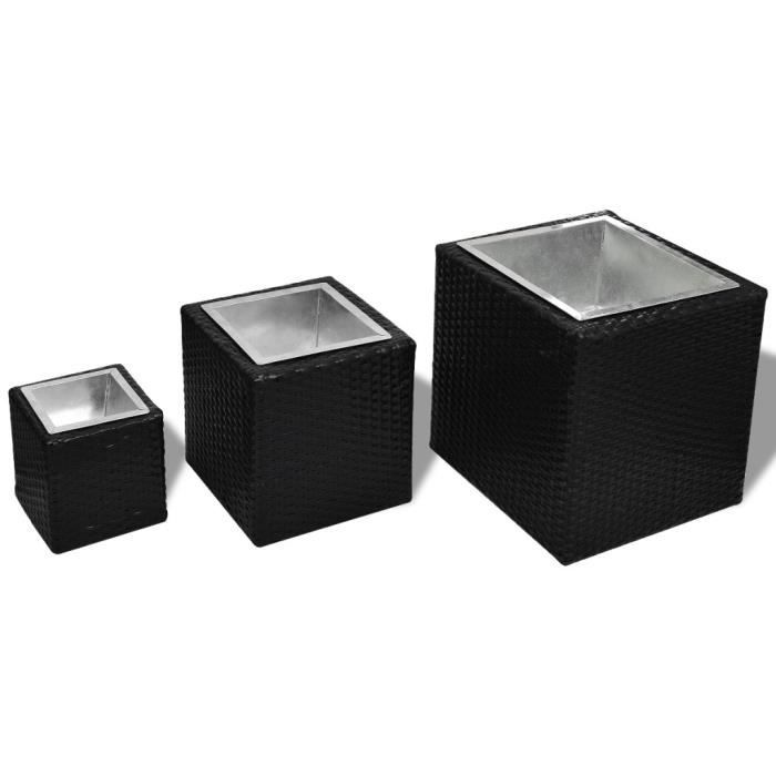 magnifique lot de 3 pots de fleurs carre en rotin noir achat vente jardini re pot fleur. Black Bedroom Furniture Sets. Home Design Ideas