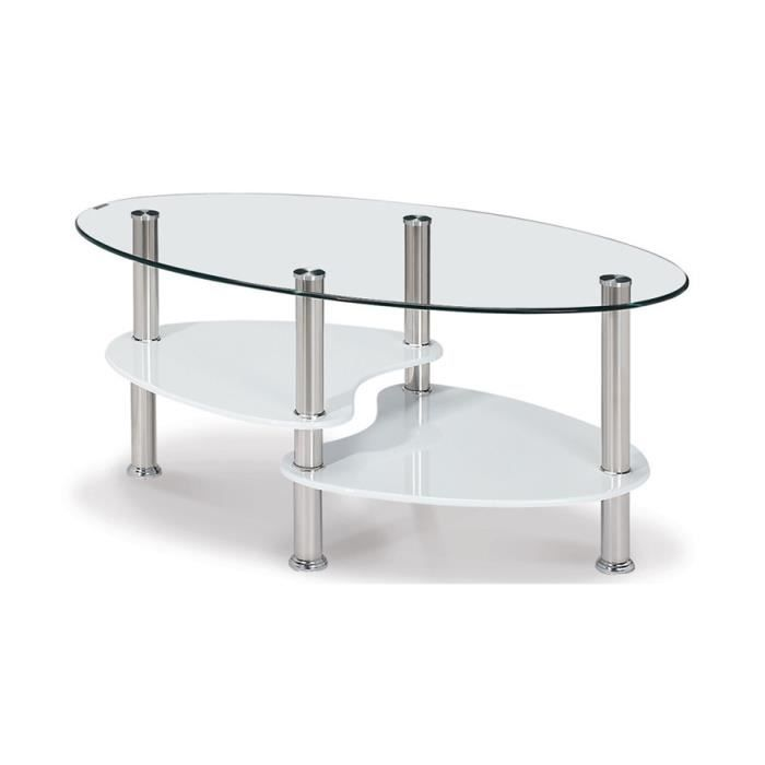 Table basse en verre tremp alix achat vente table for Tables basses de salon en verre