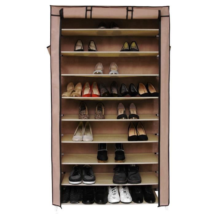 armoire box rangement chaussure 45 paires brun achat. Black Bedroom Furniture Sets. Home Design Ideas
