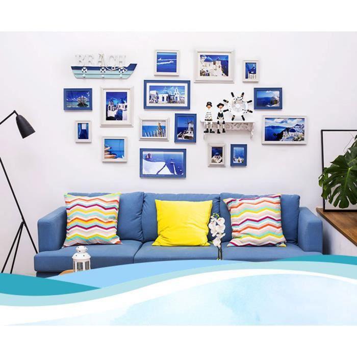ÉPERON POUR CADRE Cadre Photo Bleu+Blanc,moderne,simple et créatif.