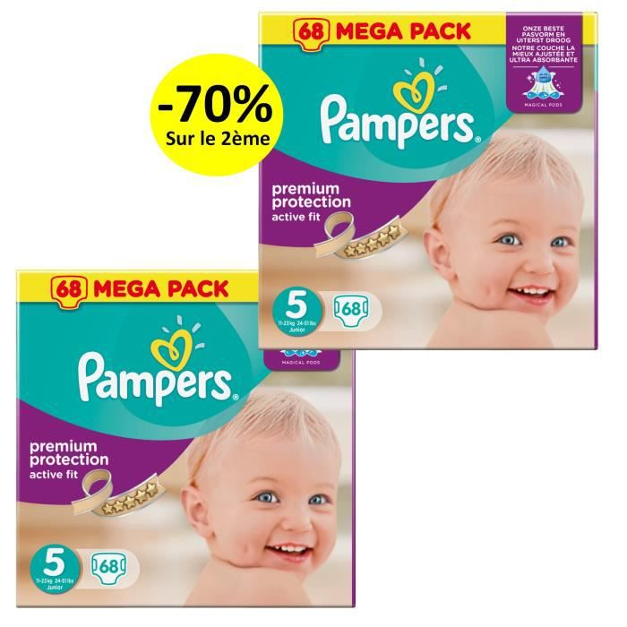 Pampers active fit taille 5 junior 11 25 kg couches mega pack 2x68 changes achat vente - Couches pampers active fit taille 5 ...