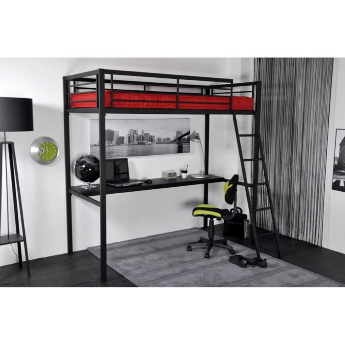 lit mezzanine 90x190 sans tablette en m tal ant achat vente lit mezzanine lit mezzanine. Black Bedroom Furniture Sets. Home Design Ideas
