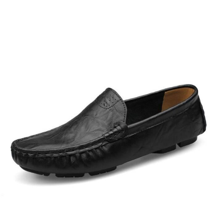 Mocassin Hommes Mode Chaussures Grande Taille Chaussures MMJ-XZ73Noir46