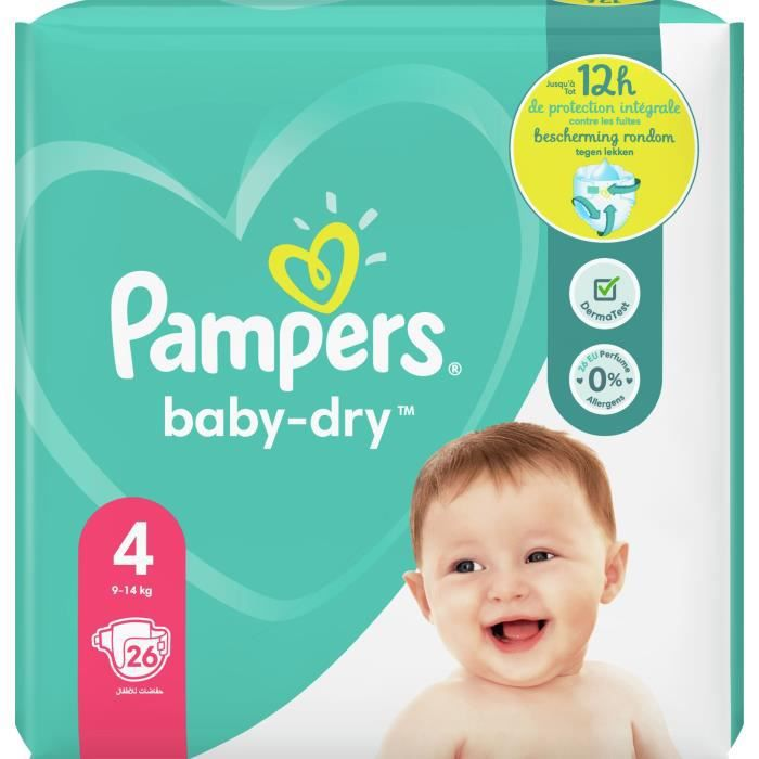 COUCHE Pampers Baby-Dry Taille 4, 26 Couches