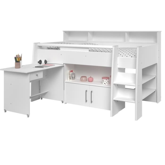 dave lit combin enfant avec sommier bureau contemporain d cor blanc l 90 x l 200 cm achat. Black Bedroom Furniture Sets. Home Design Ideas