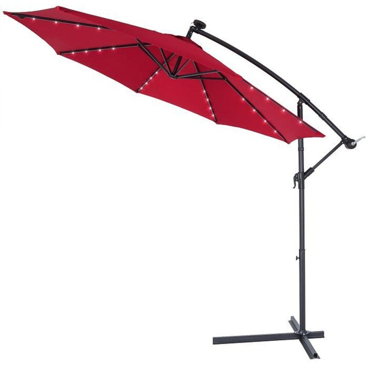 Eclairage Solaire Pour Tonnelle parasol déporté • aluminium • Ø3m • haiti • éclairage 32 led • lampe  solaire • rouge | protection, manivelle • parasol de jardin