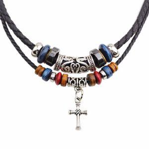 SAUTOIR ET COLLIER SAUTOIR COLLIER Perles double corde tressée Croix