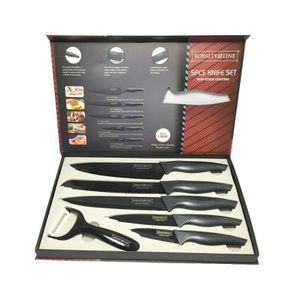 COUTEAU DE CUISINE  Coffret ( lot - set ) de 5 couteaux noir antibacté