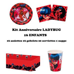 KIT DE DECORATION Kit anniversaire Miraculous Ladybug Complet 16 enf