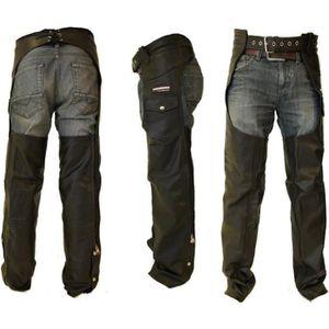 VETEMENT BAS Kc304 Sur-pantalon Chaps en cuir noir KARNO - moto