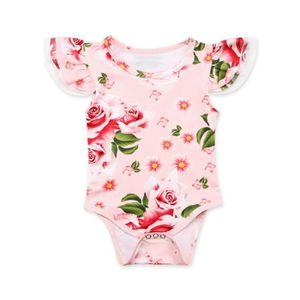 68 NEUF Bébé fille body pyjama Overall Jumpsuit Rose Fleurs Taille