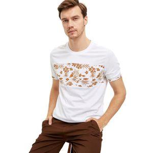T-SHIRT DeFacto T-Shirt Homme Regular Fit Col Arrondi Blan