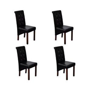 CHAISE Chaise antique simili cuir noir Lot de 4 Chaises C