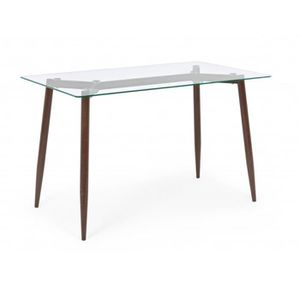 TABLE À MANGER SEULE Table rectangulaire en verre et bois coloris noyer