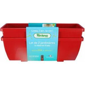 JARDINIÈRE - BAC A FLEUR Lot de 2 jardinières EVA 57 Rouge - RIVIERA-659656