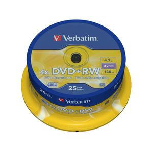 CD - DVD VIERGE Verbatim DVD+RW Matt Silver, 4,7 Go, DVD+RW, 25 pi