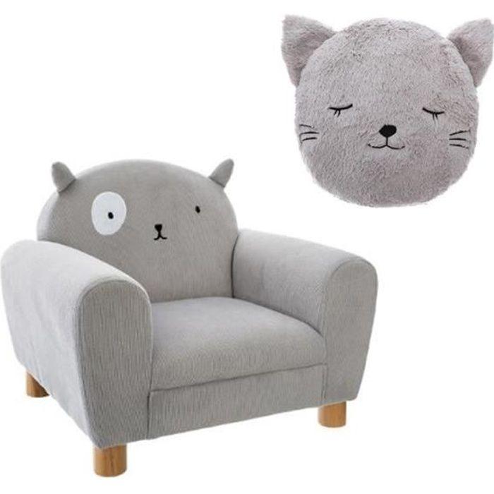 Pack : Fauteuil enfant chat gris + Coussin rond chat gris