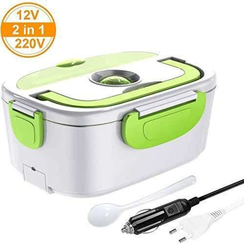 ERAY Boîte Chauffante Repas, 2 en 1 Lunch Box Chauffante Electrique 220V 12V 1.5L en Acier Inoxydable Amovible, Convient pour