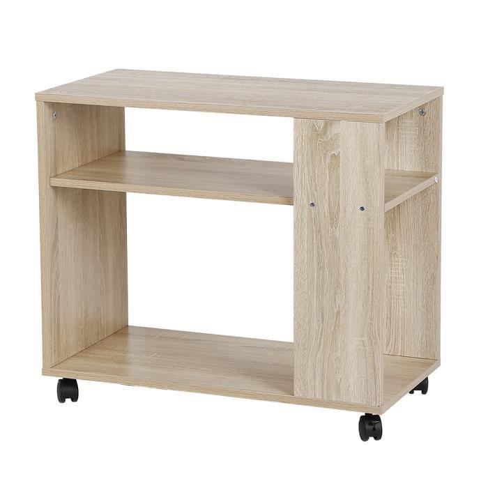 Table de Basse Bout de Canapé Bibliothèque à Roulettes Table d'Appoint en Bois 70*35*61CM