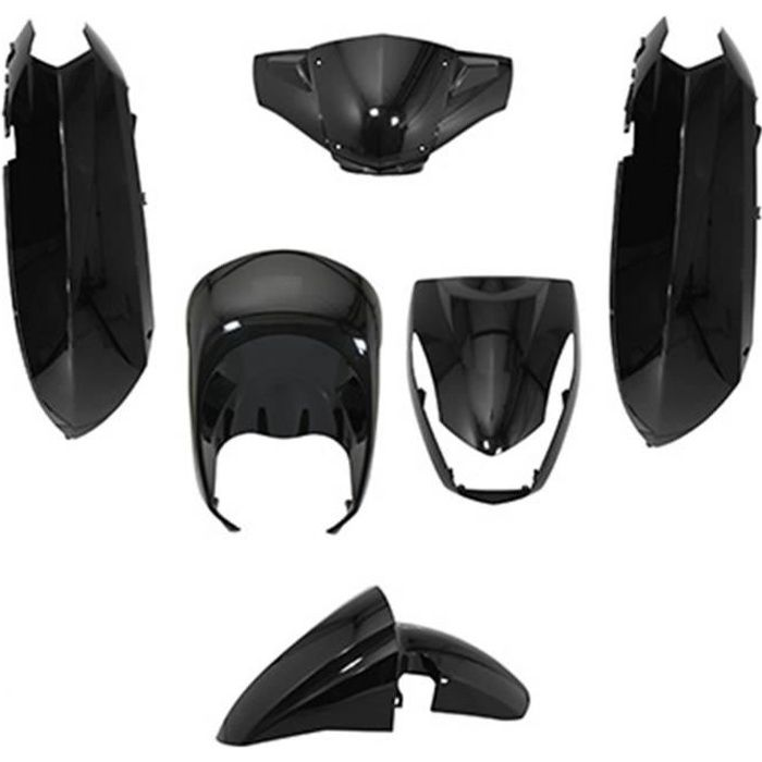 KIT CARROSSERIE CARROSSERIE-CARENAGE SCOOT ADAPTABLE PEUGEOT 50 KISBEE NOIR BRILLANT (KIT 6 PIECES)