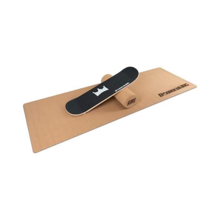 BoarderKING - Kit Indoorboard skate : planche d'équilibre + tapis + rouleau - Bois-liège noir