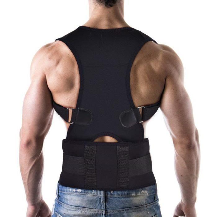 Correction de Dos Thérapie Magnétique Correcteur de Posture Hommes Femmes XXL (longueur de la taille: environ 120cm)(Noir)