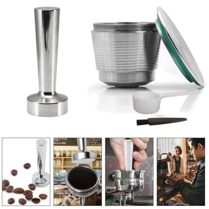 Rechargeables Inoxydable Capsules Dosette Café avec Tamper Marteau Accessoires pour Nespresso Machine avec Cuillère