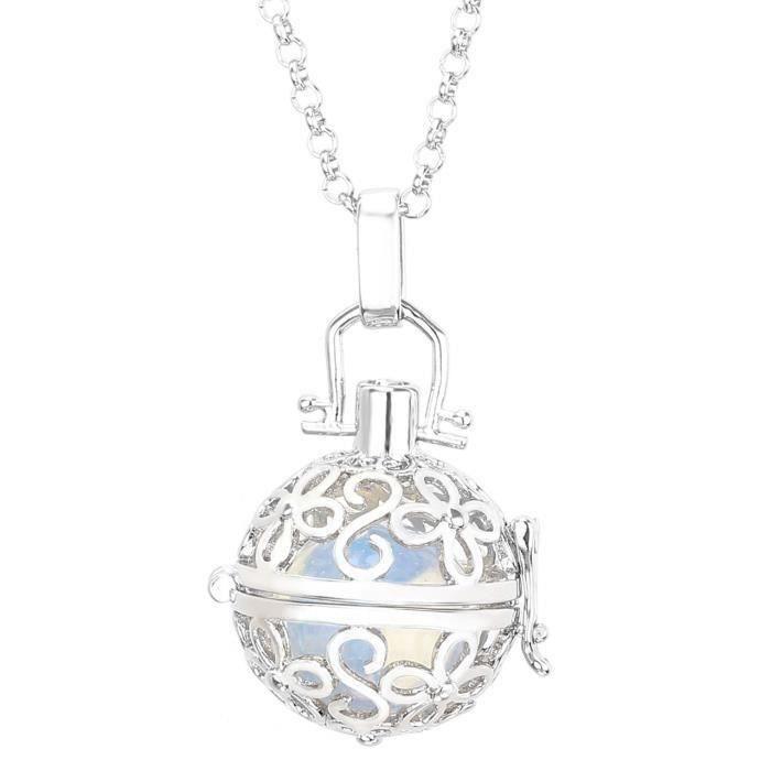 Bola de Grossesse Platiné Quatre-feuilles fleur Pierre de lune (Opal) Central avec Collier Chaîne