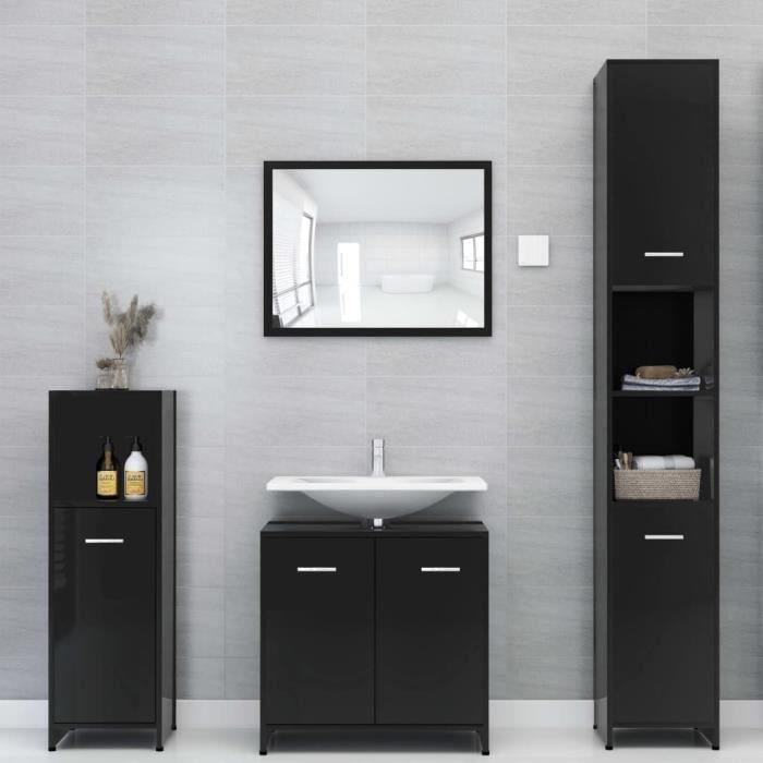 Ensemble de SALLE DE BAIN COMPLETE Ensemble de meubles de salle de bain Contemporain Noir brillant Aggloméré#75489