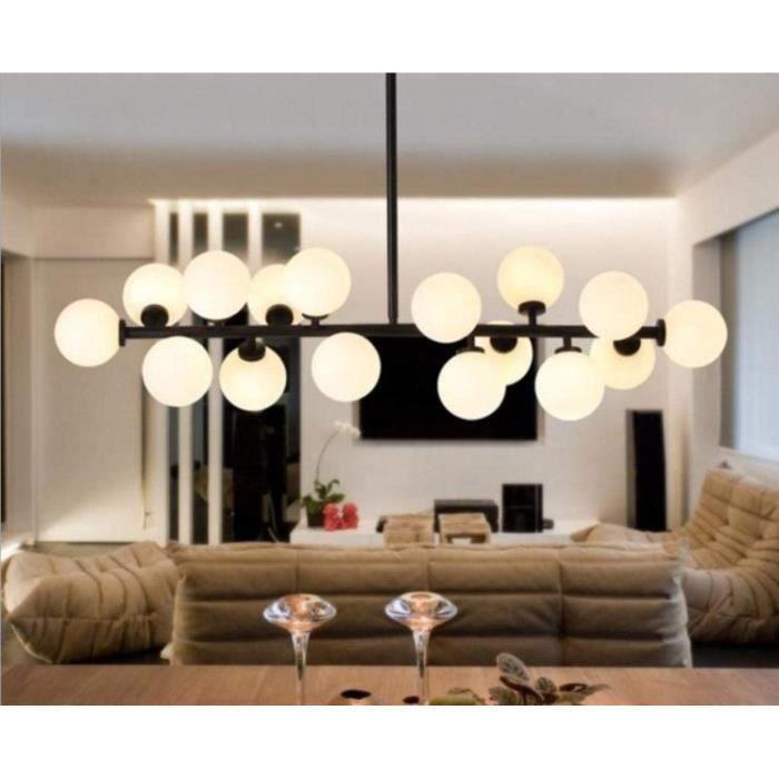 Lustre Suspension Lampe suspendue boule dor&eacutee nordique transparente en verre noir pour luminaires de salon d&eacuteco de1143