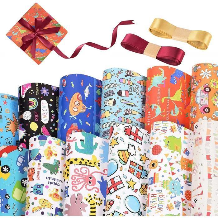 Papier Cadeau 12pcs Papier Cadeau pour Enfants Papier d'emballage à rayures en forme de Dim Sum Papier d'emballage cadeau anniv[12]